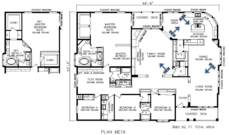 The malibu for Modular home floor plans with two master suites
