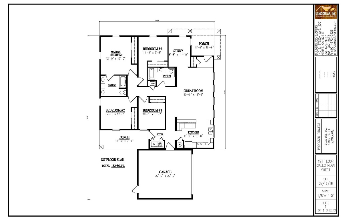 Modular floor plans us modular inc california builders for California ranch floor plans