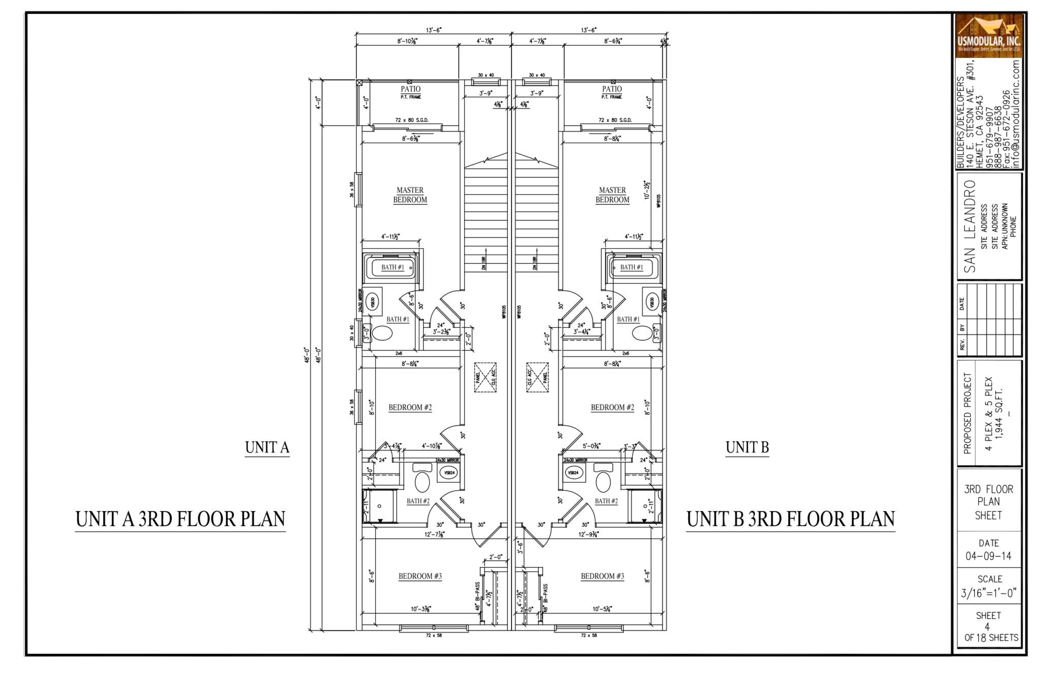 San leandro multi family modular project for Prefab 4 plex