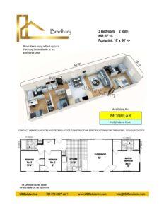 Bradbury 3 Bed 2 Bath 868 SF