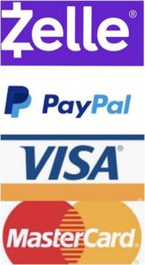 We Accept MasterCard, Visa, Zelle & PayPal